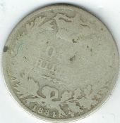 Victoria, Silver (.925), Young Head One Shilling 1884, Poor, STU432